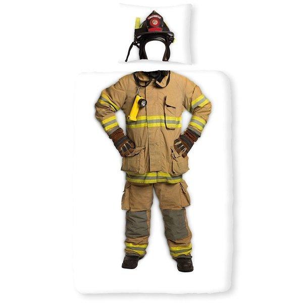 Brandweerman dekbedovertrek 140x200 - Wit