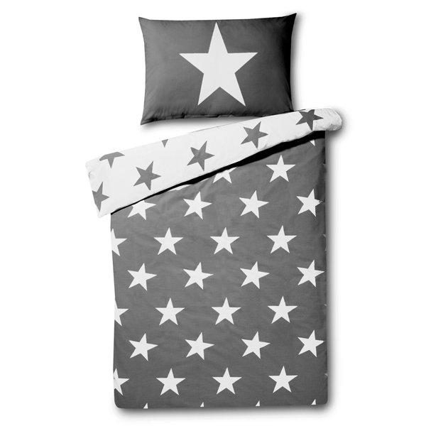 Stars kinderdekbedovertrek 140x200 - Grey