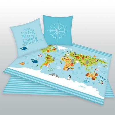 Wereldkaart kinderdekbedovertrek 140x200