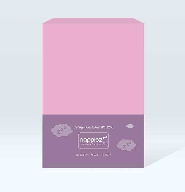 Jersey hoeslaken 90x200 - Roze - Nappiez