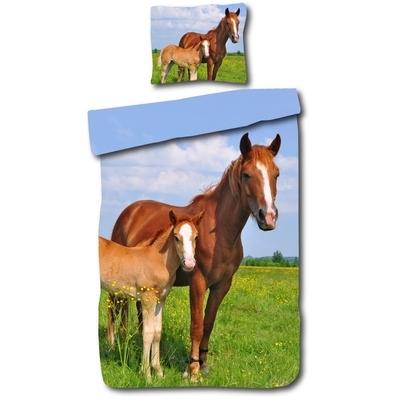 Paard met veulen kinderdekbedovertrek 140x200