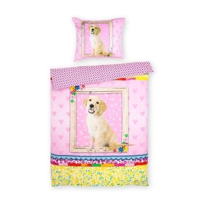 Dog kinderdekbedovertrek 140x200 - Roze