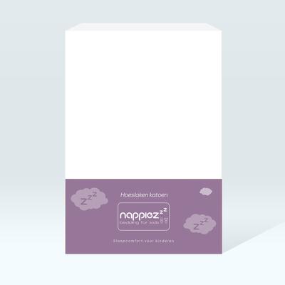 Katoenen hoeslaken 90x200 - Wit - Nappiez