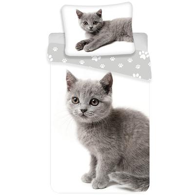 Kitten kinderdekbedovertrek 140x200 - Grijs
