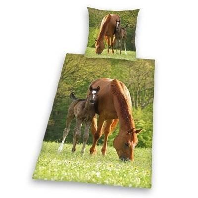 Paard en veulen kinderdekbedovertrek 140x200