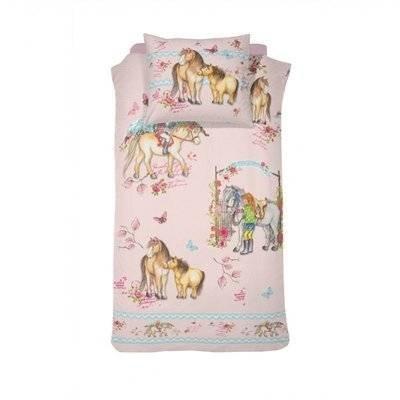 Paarden kinderdekbedovertrek 140x200 - Tiamo Pink