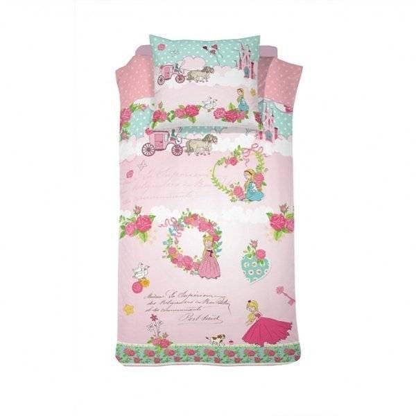 Prinsessen kinderdekbedovertrek 140x200 - Buttercup Pink