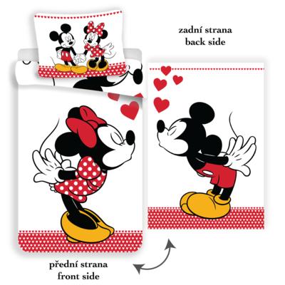 Minnie en Mickey Mouse kinderdekbedovertrek 140x200 - Kiss