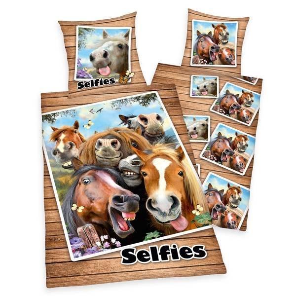 Selfies kinderdekbedovertrek 140x200 - Paarden
